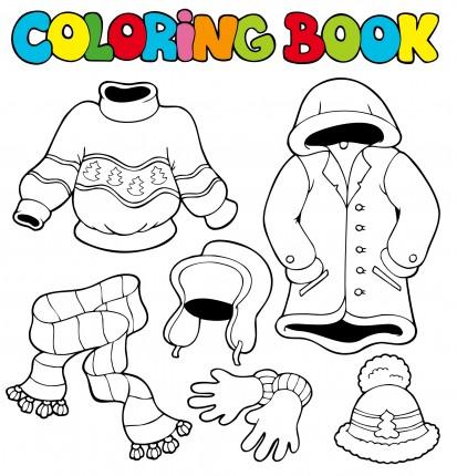 imagini cu haine de colorat iarna