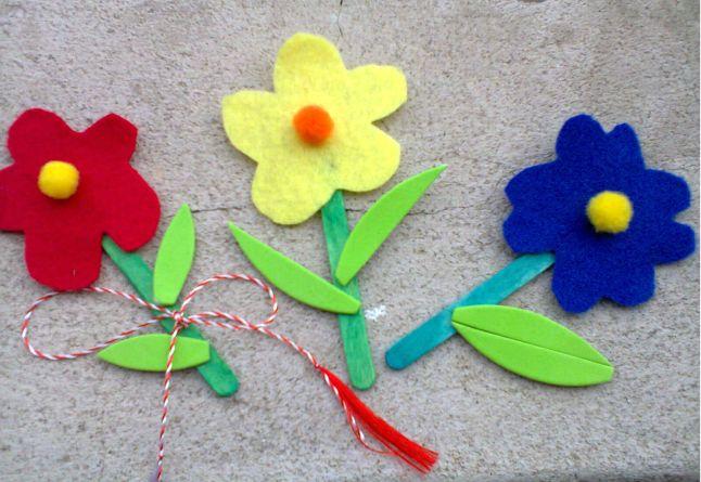 flori fetru, martisoare, handmade